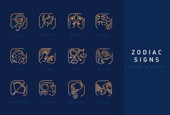 Set icons astrological signs of the zodiac Stock Illustration