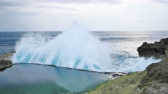 Powerful ocean splash at Devil's Tears, Nusa Lembongan, Bali. Stock Footage