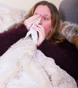 Woman is sick and nose snort Stock Photos