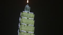 Taipei 101 Tower in New Year before at the Celebration 2015 Stock Footage