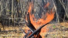 Bonfire Teepee Burns Stock Footage