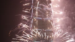 Taipei 101 Tower in New Year Celebration 2015 Colorful Fireworks. City Skyline Stock Footage