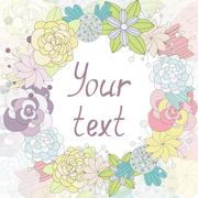 Card with flowers in a round label with place for your text Stock Illustration