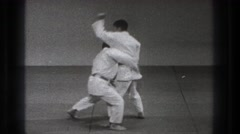 1971: uki waza martial arts competition on stage TOKYO JAPAN Stock Footage