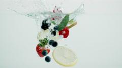Mixed Fruit Splash Stock Footage