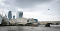 London Bridge, the River Thames and the financial City of London, UK Stock Footage