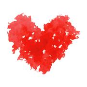 Watercolor vector red heart. Stock Illustration