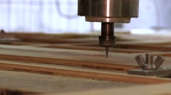 Running Drill On Wood Turning Lathe Machine Stock Footage