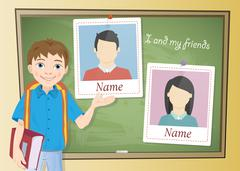 Yearbook about schoolboy and chalkboard Stock Illustration