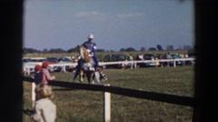 1957: people outside riding on animals WHEELING OHIO Stock Footage