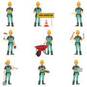 Construction Worker Doing Work Stock Illustration