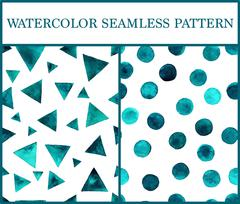 Watercolor seamless patterns set with emerald triangles and circles Piirros