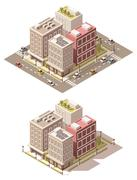 Vector isometric low poly town street Stock Illustration