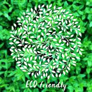 Vector ECO logo. Blurred rural background. Stock Illustration