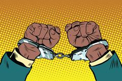 Hands up African American in handcuffs Stock Illustration