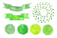 Set of watercolor logotypes. Green leaves, branches, plants elements, laurels Stock Illustration