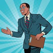 Friendly African American businessman Piirros