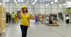4k, Portrait of a cheerful & friendly African American female warehouse manager Stock Footage