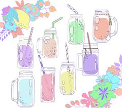 Jars for smoothies and lemonades. Citrus and floral borders. Stock Illustration