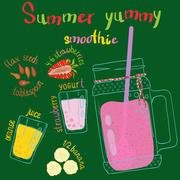 Recipe illustration smoothie (cocktail). Vector hand drawn illustration Stock Illustration