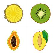 Set of fresh hand drawn fruits and vegetables and products. Stock Illustration