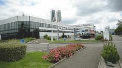 Car factory entrance - BMW group car factory entrance Stock Footage