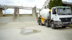 Concrete mixer truck Mercedes-Benz Actros Stock Footage