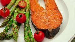 Crispy roasted salmon steak Stock Footage