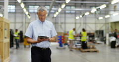 4k, Portrait of a mature man working inside in a distribution warehouse. Stock Footage
