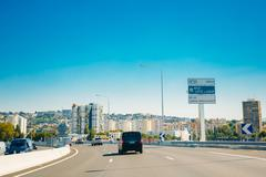 The movement of vehicles on freeway, motorway A8 near Nice, France Stock Photos