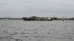 The ship moves along the Dnieper River Stock Footage