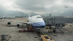 Loading cargo into the plane, Hong Kong Stock Photos