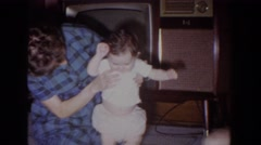 1965: baby learning to walk FALLSTON MARYLAND Stock Footage