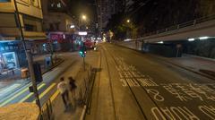 Night Hong Kong street, view from double-decker tram Stock Photos