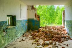 Destroyed  Rural Shop With Ruined Wall In Nuclear Contamination Stock Photos