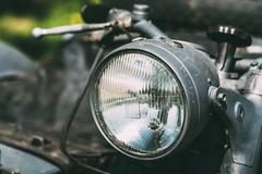 Close View Of Headlight Of Old Rarity Gray Tricar Or Three-Wheeled Motorbike Stock Photos