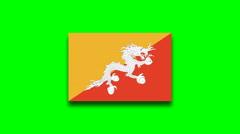 4K - Bhutan country flag on green screen Stock Footage