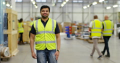 4k, Portrait of a cheerful and friendly male warehouse manager. Slow motion. Stock Footage