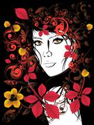 Autumn Girl with Floral Stock Illustration