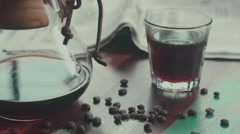 Offee beans. Siphon coffee. Modern ways of making coffee Stock Footage