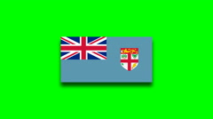4K - Fiji country flag on green screen Stock Footage