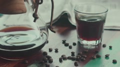 Siphon coffee. Modern ways of making coffee Stock Footage