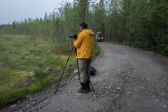 Photographer is making photos  on the forest road Stock Photos