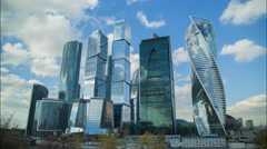Skyscrapers of Moscow-City - Moscow Business Center, October 15 (timelapse 4K) Stock Footage