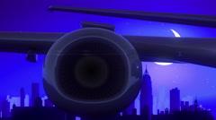 Mumbai Bombay India Airplane Take Off Moon Night Blue Skyline Travel Stock Footage