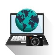 Laptop of travel and tourism  concept Stock Illustration