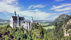 Time Lapse from Summer to Winter of the Neuschwanstein Castle in Germany Stock Footage