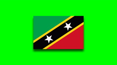 4K - Saint Kitts and Nevis country flag on green screen Stock Footage
