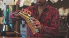 Portrait of a smiling bartender. Bartender preparing cocktail Stock Footage