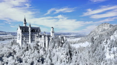 4K Winter Time Lapse of the Neuschwanstein Castle in Germany Stock Footage